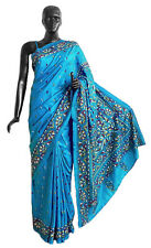 Kantha Stitch on Blue Pure Silk Saree with Gorgeous Border and Pallu