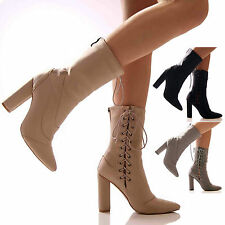 NEW EGO GIRLS LADIES WOMENS ANKLE BOOTS SUEDE BLOCK HEEL BOOTS LACE UP ZIP SHOES