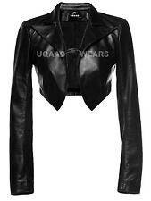 Ladies Women's Short Cropped Shrug Bolero Leather Jacket Lamb Sheep Soft Leather