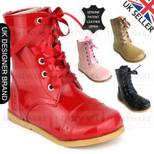 a6d560aae GIRLS SPANISH STYLE BOOTS REAL PATENT LEATHER SIZES UK5 UK3 PINK CAMEL RED  BLACK