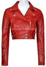 Ladies Women's Red Short-Cropped Biker Lamb-Sheep Nappa Leather Glamorous Jacket