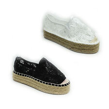 WOMENS LADIES PLATFORM CHUNKY SOLE SLIP ON ESPADRILLES SHOES PUMPS SIZE 3-8
