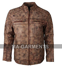 New Biker Vintage Brown Waxed Motorcycle Cafe Racer Distressed Leather Jacket
