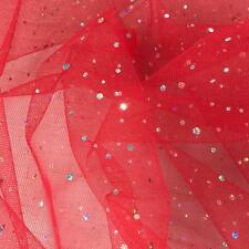 Red Spangle Diamante Dress Net Tulle Sequins Fabric Material Tutu 150cm