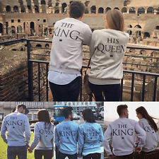 King & Regina Couple Felpa Girocollo Set Super Couple Maglione Maglietta Lover