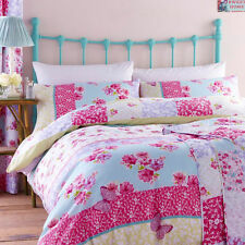 Catherine Lansfield 'Gypsy Patchwork' Floral Pink Duvet Quilt Cover Bedding Set