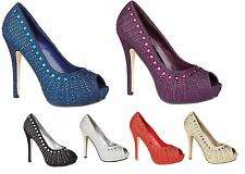 Ladies Diamante Wedding Womens Evening Glitter Peep Toe Party Sandals Shoes Size