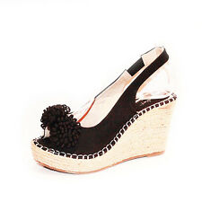 WOMENS LADIES PLATFORM PEEP TOE WEDGE HEEL ESPADRILLES SHOES SANDALS SIZE 3-8