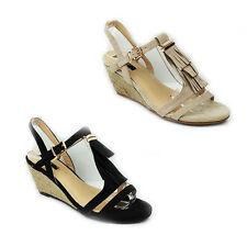 WOMENS LADIES STRAPPY TASSLE WEDGE HEEL SANDALS ESPADRILLES SHOES SIZE 3-8
