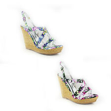 WOMENS LADIES FLORAL STRAPPY PLATFORM WEDGE HEEL SHOES SANDALS ESPADRILLES 3-8