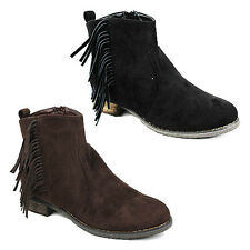 WOMENS LADIES LOW BLOCK HEEL TASSLE CHELSEA STYLE ANKLE BOOTS SHOES SIZE 3-8