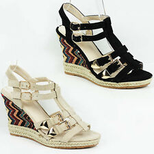 WOMENS LADIES PLATFORM GLADIATOR WEDGE HEEL ESPADRILLES SANDALS SHOES SIZE 2-8