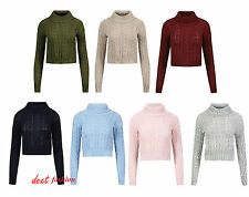 NEW LADIES  POLO NECK CROPPED CHUNKY CABLE KNIT LONG SLEEVE KNITTED JUMPER TOP