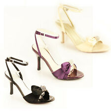 WOMENS LADIES ANKLE STRAP SLINGBACK MID HIGH HEEL SANDALS SHOES SIZE 3-7