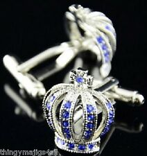 NEW PAIR ROYAL CROWN SILVER BLUE CUFFLINKS SHIRT NOVELTY GIFT KING MENS WEDDING