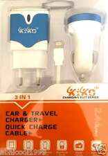Kiko 3 In 1, 2 Port 2.4 A Fast Wall & Car Mobile Charger(V8 & iphone 5s/6/6s/7