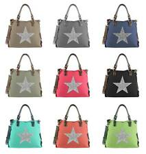 DAMEN STERN SHOPPER Strass SCHULTER TASCHE Canvas Stofftasche BLOGGER BAG Street