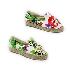 WOMENS LADIES FLAT CHUNKY WEAVE SOLE SLIP ON FLORAL ESPADRILLES SHOES SIZE 3-8
