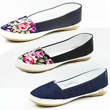WOMENS LADIES FLAT SLIP ON WEAVE SOLE FLORAL ESPADRILLES PUMPS SHOES SIZE 3-8