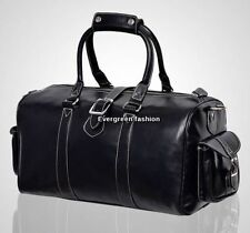 DUFFLE  Medium black CLASSIC Weekend Holdall Travel Gym Real Genuine Leather Bag