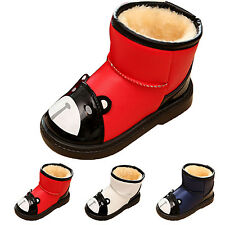 Lovely Kids Baby Boys Girls Comfy Cartoon Snow Ankle Boots Fur Linned Warm Shoes
