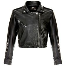 Ladies Women's Short Cropped Biker Lamb-Sheep Nappa Leather Jacket Retro Style