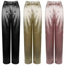 New Hammered Satin High Waisted Wide Leg Palazzo Pants Crepe Metallic Trousers