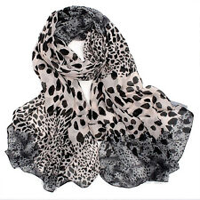 Women Leopard Long Soft Chiffon Cotton Scarf Wrap Lady Shawl Stole Scarves New