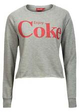 NEW Ladies Womens Girls Vintage Coke Logo Grey Marle Cropped Sweatshirt XS-L