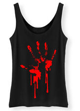 Bloody a Mano Stampa Canotta Donna Zombie Horror Sangue Goth Punk Rock Gilet