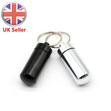 2x Waterproof Keyring Pill Box Case Container Capsule Bottle Keychain Travel UK