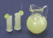 Dollhouse Miniature Pitcher of Lemonade w/Two Filled Glasses by Falcon Miniat...