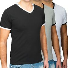 Extensible à manches courtes Polo T-shirt col V col V Homme Slim Fit shell Basic