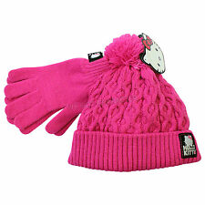 Official Licensed Girls Pink Hello Kitty Winter Knitted Hat Gloves Age 9-13 Year