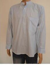 Collarless Grandad Button Thru Cotton pinstripe Shirt - Small - XXL Casual Shirt