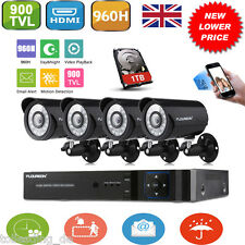 1TB HDD 8CH 960H CCTV HDMI DVR 900TVL IR-CUT Video Camera Home Security System