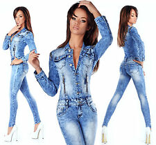 Sexy Women's Denim Blue Wash Jeans Playsuit Jumpsuit Overall Skinny Slim N 580
