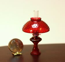 Dollhouse Miniature Non-Working Oil Lamp w/Hobnail Shade in Ruby Red