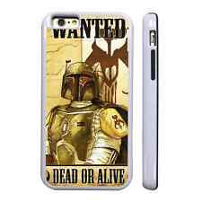 WANTED BOBA FETT WHITE PROTECTIVE PHONE CASE COVER FITS IPHONE 4 5 6 7