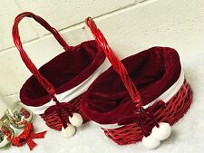 HANDEMADE WICKER CHRISTMAS BASKET WITH FESTIVE LINING-3 SIZS SMALL/MEDIUM/LARGE