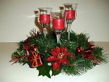 Christmas Holiday Centerpiece arrangement 3 glass candle holder w/Candle  NEW