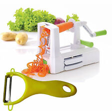 3 Blade Spiralizer Vegetable Chopper & Fruit Twister Spiral Slicer Cutter Peeler