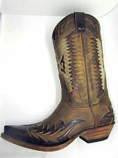Sendra 13040 Cowboy Boots Brown Distressed Leather Eagle Western Biker Boot