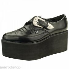 T.U.K. A8878 Tuk Ladies Leather Shoes Stack Pointed Creeper Black Western Buckle
