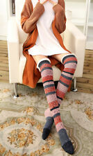 Winter Warm Lace Trim Button Cotton Stripe Fairisle Knitted Boot Socks Slim Fit
