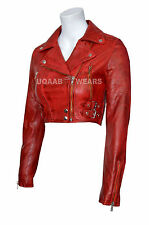 Ladies Women's Red Short Cropped Biker Lamb Sheep Nappa Soft Real Leather Jacket