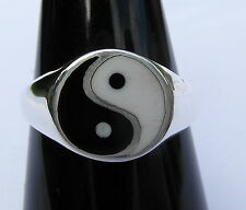 Argento Sterling (925) Ying Yang Anello Nuovo