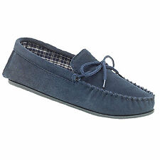 Mens New Navy Blue Suede Moccasin Bruce Slippers UK 6 7 8 9 10 11 12 13 14 15