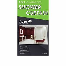 Enzo Barelli PEVA SHOWER CURTAIN 180x180cm Chlorine Free - White, Clear Or Beige
