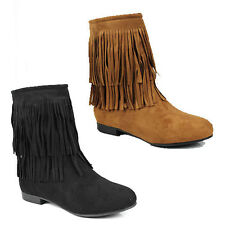 WOMENS LADIES CASUAL FLAT TASSLE CHELSEA STYLE ANKLE BOOTS SHOES SIZE 3-8